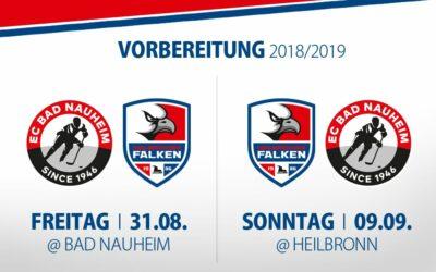 Falken bestreiten Vorbereitungsspiele gegen den EC Bad Nauheim